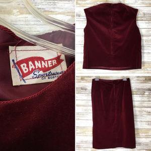 Vintage Skirts - Vintage 1960's Maroon Velvet Shirt & Skirt Set USA